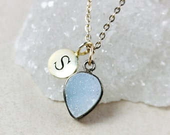 ON SALE Initial Charm and Blue Druzy Necklace – Sterling Silver or 14K Gold Filled Chain