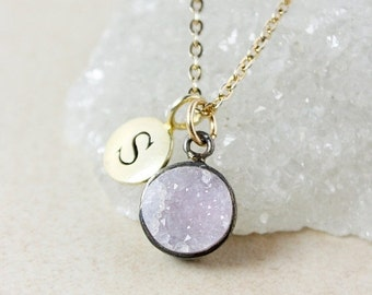 ON SALE Pink Druzy and Letter Charm Necklace – Choose Your Druzy