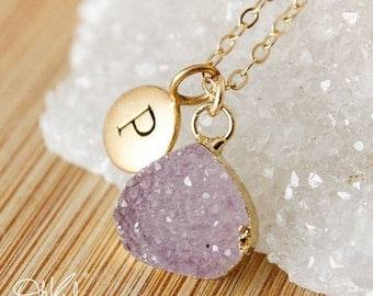 ON SALE Druzy Necklaces - Multi-Colour Druzy - Choose Your Druzy, Initial Necklace