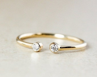 25% OFF Diamond Dual Birthstone Ring - Solid 10Kt and 14Kt Yellow Gold - April Birthstone Ring