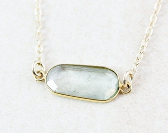 25% OFF Sage Green Tourmaline Necklace - Organic Shape - 14K GF
