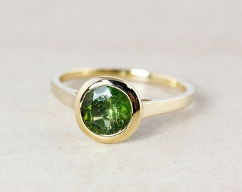 LABOR DAY SALE Emerald Green Tourmaline Ring - Round - 10Kt Yellow Gold