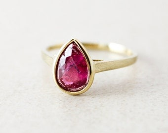 Gold Juicy Pink Tourmaline Teardrop Ring - Pear Shape - 10Kt Yellow Gold
