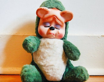 Vintage 1950s Plush Toy Rubber Face Stuffed Animal Green Cry Baby Bear with Vinyl Face by Regal Toy.