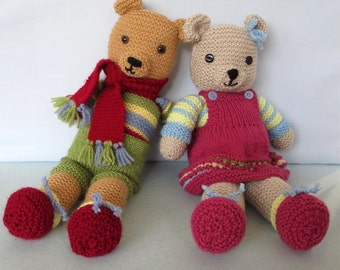 Vintage Style Teddy Bears - Toffee Ted & Tessa - pdf knitting pattern