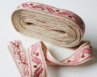 Vintage Upholstery Ribbon Trim Berry Leaf Design Pink Red and Cream