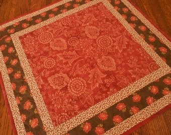 Red and Brown Quilted Table Topper with Flowers and Leaves, Floral Table Mat, Quilted Tablecloth, Quiltsy Handmade