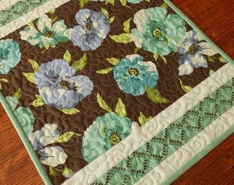 Floral Quilted Table Runner in Blue Aqua Purple and Brown, Flower Garden Table Runner, Quilted Table Mat, Quilted Tablecloth