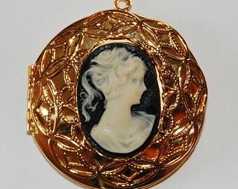Vintage Brass Circle Locket Pendant Plastic Cameo Cabochon