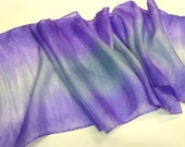 Hand Painted Silk Scarf in Soft Silver Grey and Purple