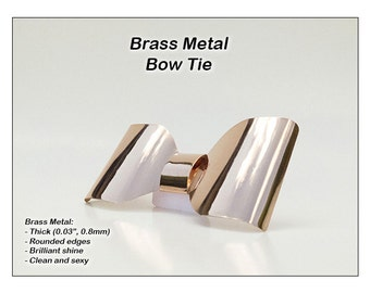 Metal Neck Bow Tie, Brass, Solid thick metal