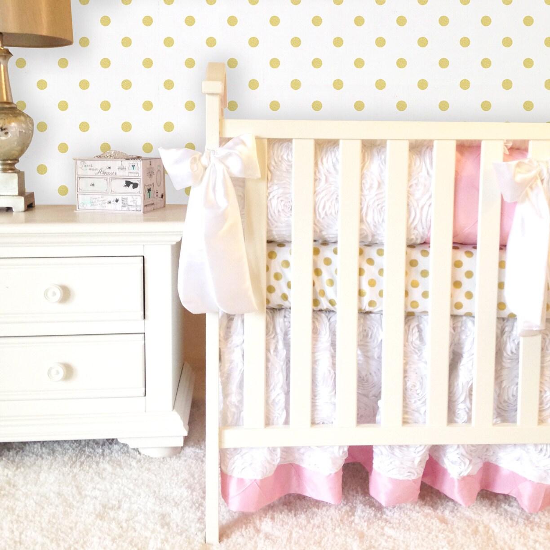 white pink and gold girl 4pc crib set white roses crib set. Black Bedroom Furniture Sets. Home Design Ideas