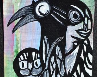 Crow Black Bird Aceo, Atc, Painting, Original Acrylic, Listen