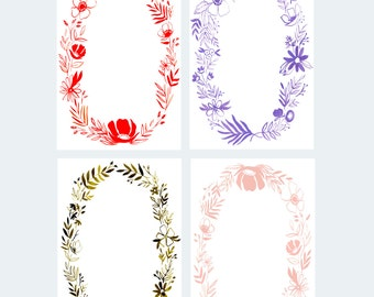 Monochromatic Floral Wreath Notecard Set - Set of 8 - A-7 Flat Cards with Envelopes