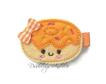 Doughnut Hair Clip, Food Hair Clip, Clips For Toddlers, Felt Hair Clips, Orange Iced Doughnut, Girls Hair Clips, Kawaii Hair Clips,