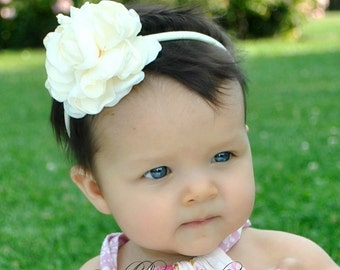 Ivory Satin Flower Headband, Bow Headband, Newborn Headband, Holiday Headband, Ivory Headband, Baby Bows, Toddler Headband, Flower Girl