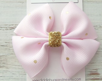 Pink And Gold Pinwheel Bow, Girl's Gold Hair Bow, Hair Bow For Girls, Gold Polka Dot Hair Bow,  Gold And Pink Hair Bow, Hair Bow For Girls
