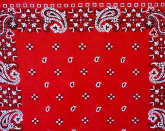 vintage red bandana paisley color fast cotton square head scarf Paris made in usa