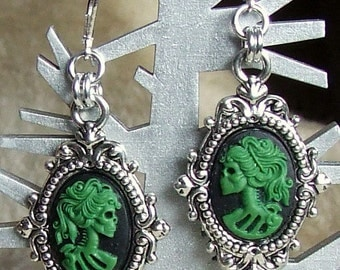 Gothic Skeleton Lady Cameo Earrings