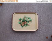 SALE SALE SALE Vintage Tv Tray Metal Pine Tree Cones Christmas Holidays Cabin Cottage Home Decor Set Four Plus Brown Green Woodland