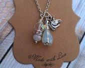 Magic Unicorn Charm necklace, Unicorn, Horse, Opal Pendant, Swarovski Crystal, rhinestone