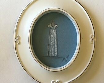 Regency Ball Gown Original Miniature Pastel Drawing. Framed.