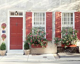 Charleston SC Architecture Photography, Queen Street Print, Door Window Photograph, Fine Art Print, Home Decor, Wall Art, Travel Photo