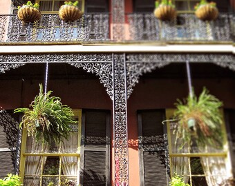 Lacey Ironwork New Orleans Art, French Quarter Balcony Photograph, Architecture, Wrought Iron, Mardi Gras, Ferns, NOLA Picture, Louisiana