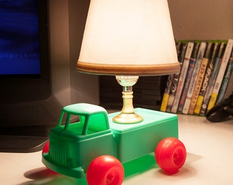 FREE SHIPPING: Kids Mini Lamp Upcycled Vintage Toy Truck with New Fabric Lampshade - Little One-of-a-Kind Green Red Truck Lamp