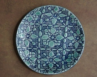 Glossy, turquoise, ceramic, round, plate