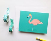 Flamingo - Bird Card - Blank