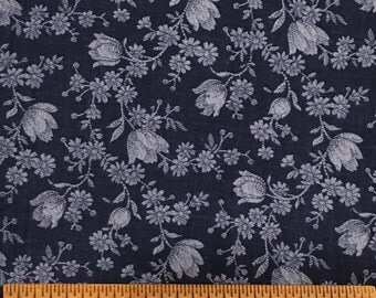 Joan Kessler for Concord Fabrics Cotton Navy Floral Colorway 1 Yard