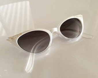 Vintage White Rhinestone Adorned Catseye Sunglasses -- 80's does 50's
