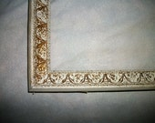 "Ornate Distressed  Picture Frame 18""x14"" White  w Gold   Shabby Chic on sale"