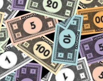 Quilting Treasures Fabric Monopoly Money Game Night- yards