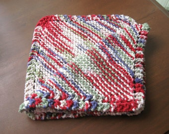 Set of Two (2) Knitted Cotton Dishcloths - Red/Purple/Green/White