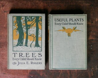 Vintage Survival Books, Useful Plants and Trees, Trees Every Child Should Know, Rustic Bookshelf Decor