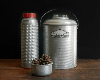 Vintage Thermos Collection, Deluxe Picnic Jug, Textured Thermos, Metal Thermos, Camping Gear, Rustic Decor, Red
