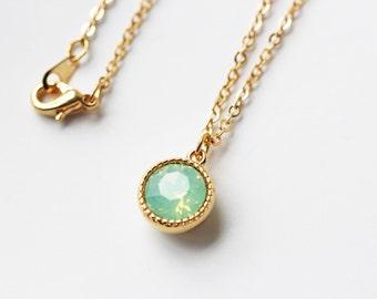 Pale Mint Opalescent Swarovski Crystal Necklace Chrysolite Opal Small Round Gold Pendant