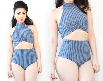 Denim Blue Striped High Waist 2 Piece Swimsuit Small
