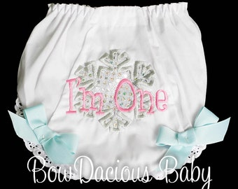 Winter Onederland Diaper Cover, Winter Onederland Bloomers, Snowflake Bloomers, Cake Smash Diaper Cover, Snowflake Diaper Cover, Custom