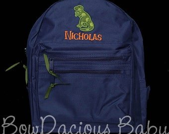 Boys Personalized Backpack, Dinosaur Backpack, Monogrammed, Choose Your Own Colors