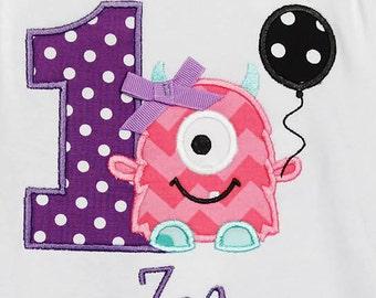 Girl's Monster Birthday Shirt, Monster Birthday Shirt, Girls Monster Birthday Shirt, Any Age, Custom Colors and Fabrics, Little Monster, 1-9
