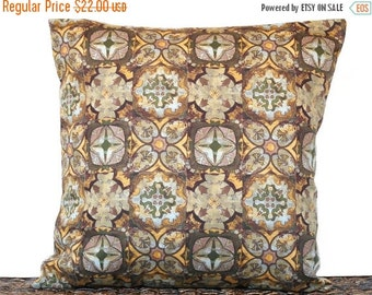 Christmas in July Sale Brown Geometric Pillow Cover Cushion Fall Autumn Squares Mustard Green Blue Crosses Hearts Decorative 18x18