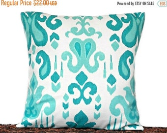 Christmas in July Sale Turquoise Ikat Pillow Cover Cushion Teal White Summer Decorative 16x16
