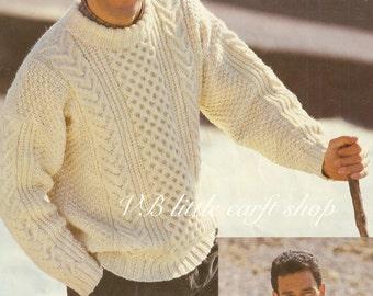Men's aran sweater knitting pattern. Instant PDF download!