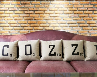 Scrabble Letter Custom Embroidered Pillow Cover