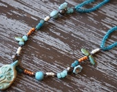 Earthy Necklace - Rustic Ceramic Jewelry - Eclectic Rustic Necklace - Bohemian Jewelry - Teal Necklace - Primitive Necklace - Bead Soup