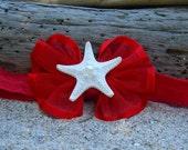 Starfish Headband, RUBY RED,Starfish Hair,Beach Weddings, Flower Girls, Little Mermaid Costume, Infant Photo Prop, Patriotic Hair Accessory