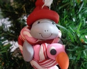 Polymer clay Manatee with baby Flamingo - ornament